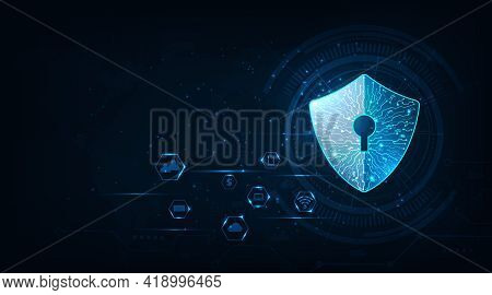 Cyber Security For Data In Computer.security Shield Icon Digital Display Over On Dark Blue Backgroun