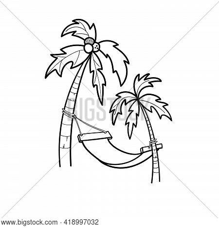 Coconut Palm Trees, Hammock, Island Doodle Icon