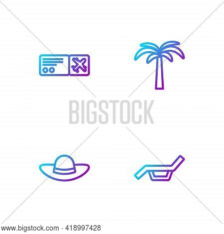 Set Line Sunbed And Umbrella, Elegant Women Hat, Airline Ticket And Tropical Palm Tree. Gradient Col