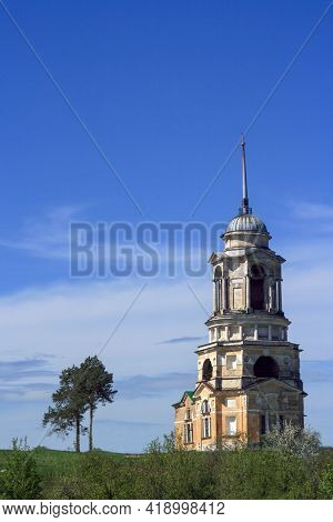 Staritsa, Tver Region, Russia-may, 2019. Spasskaya Church On The Volga River. Russian Orthodox Churc