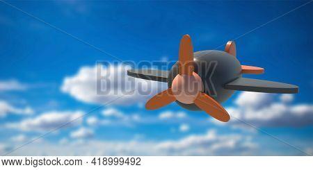 Flight Airplane Wooden Kids Toy On Blue Sky Background. 3D Illustration