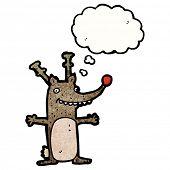 excited cartoon reindeer poster