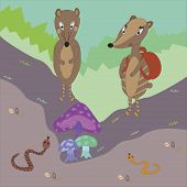 illustration of badgers finding magic mushrooms in the forest poster