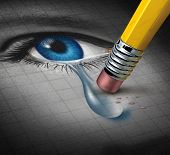 Depression Relief and conquering mental adversity with a pencil eraser removing a tear drop from a close up of a human face and eye as a concept of emotional support and therapy. poster