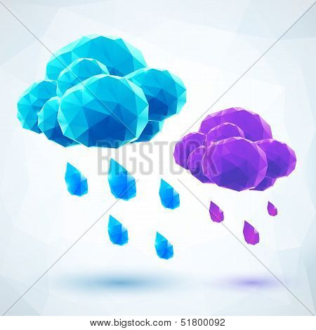 Abstract triangles vector polygonal rainy crystal clouds poster