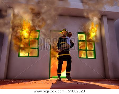 Firefighter saving a child