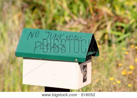 Green No Junk Mail Mailbox