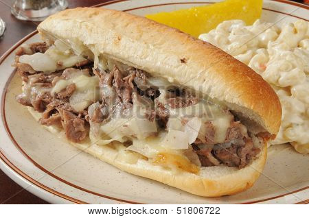 Closeup Of A Philly Cheese Steak Sandwich