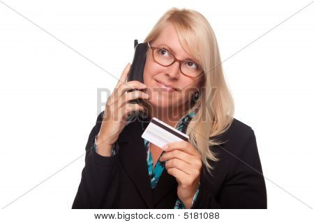 Beautiful Blonde Woman With Phone And Credit Card