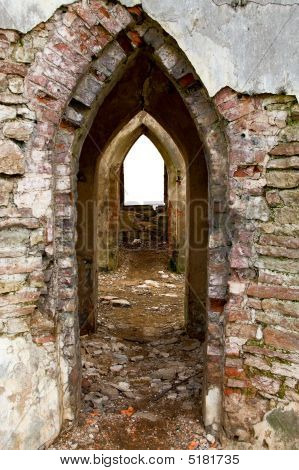 Ancient Arches Through The Brick Walls With Isolated Window Opening