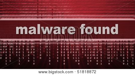 Malware found text. computer virus warning sign poster