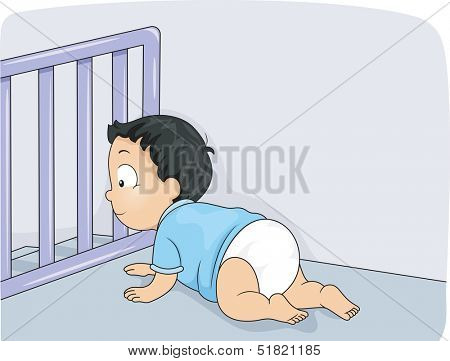 Illustration of a Baby Boy Being Prevented by a Baby Gate from Falling Down the Stairs