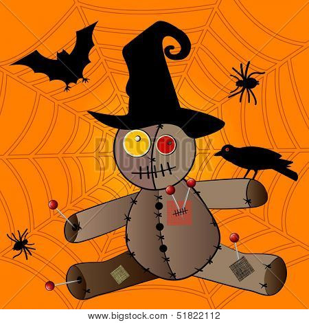 Voodoo doll in witches hat Halloween concept