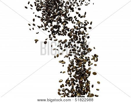 coffee beans on white background with clipping path