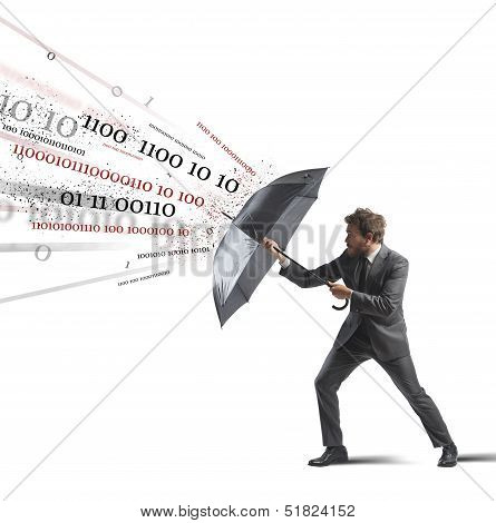 Antivirus and firewall concept with businessman and umbrella poster