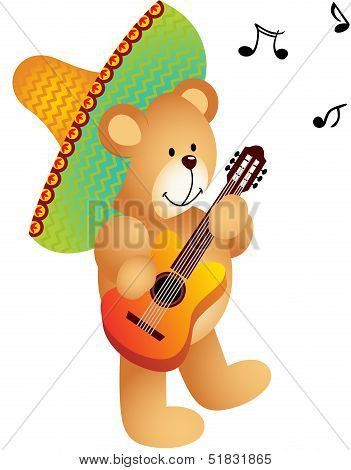 vector art and illustration image representing a musician bear, isolated on white. poster