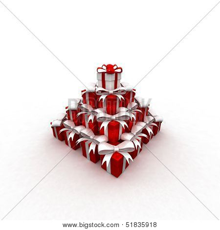 Stack of gift boxes 3d render