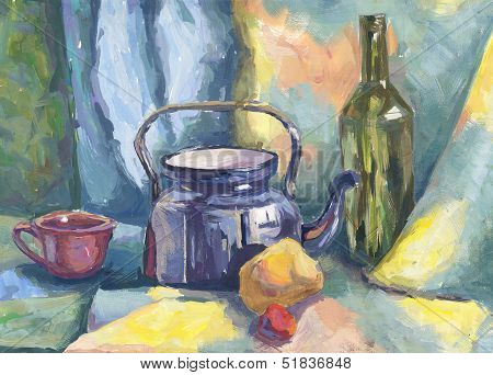 Still Life With Metal Teapot And Bottle