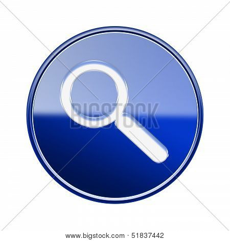 Magnifier Icon Glossy Blue, Isolated On White Background