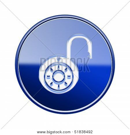 Lock On Icon Glossy Blue, Isolated On White Background.