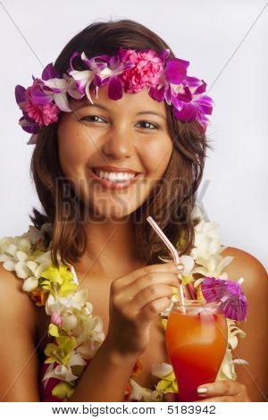 Portrait Of A Hawaiian Girl With Flower Lei And Tropical Drink