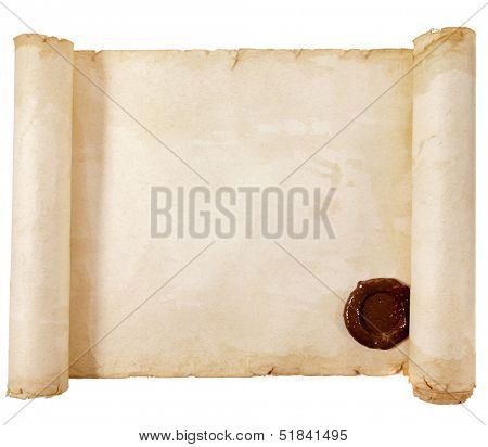 old scroll paper with a wax seal isolated on a white background