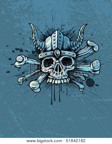Terrible skull in helmet with horns and bones on background - EPS10 vector illustration