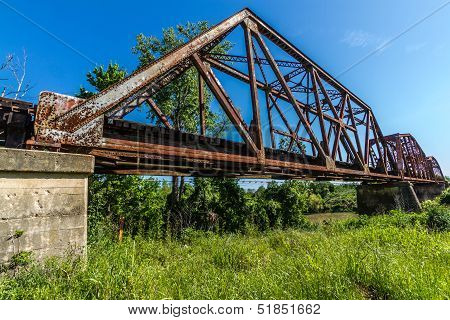 An Interesting View of an Old Iconic Iron Truss Railroad Bridge Over the Brazos River, Texas. poster