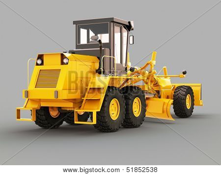 Modern three-axle road grader on a gray background