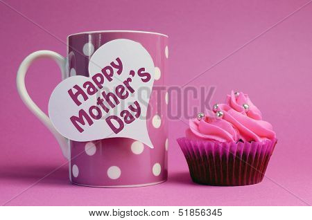Pink Happy Mother's Day Cupcakes Gift With Message Written Across White Heart Signs - With Pink Polk