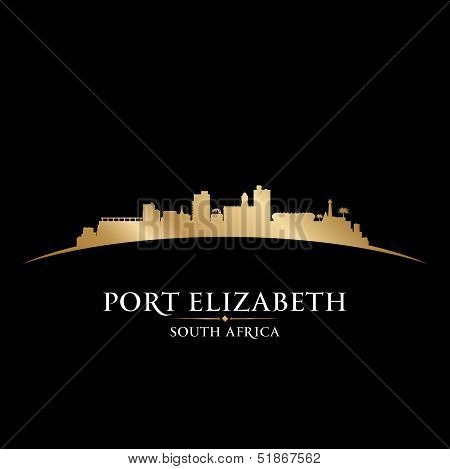 Port Elizabeth South Africa City Skyline Silhouette Black Background