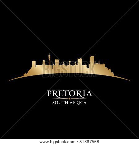 Pretoria South Africa City Skyline Silhouette Black Background