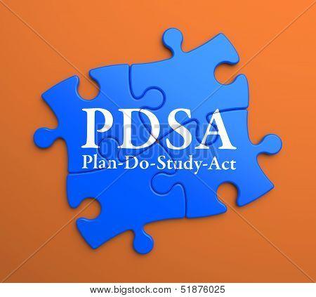 PDSA on Blue Puzzle Pieces. Business Concept.