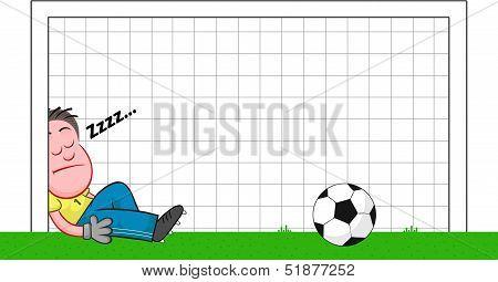 Cartoon Goalkeeper Sleeping