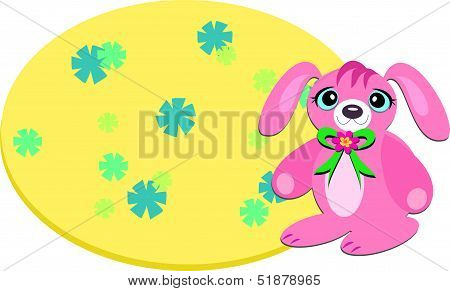Pink Bunny and a Flower Background