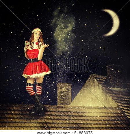 Christmas Fairy Woman  In Red Dress And Santa Hat