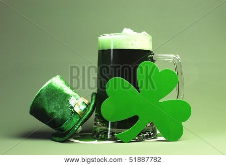 Celebrate All The Fun And Luck Of The Irish Of St Patrick's Day With A Glass Stein Of Green Beer, A
