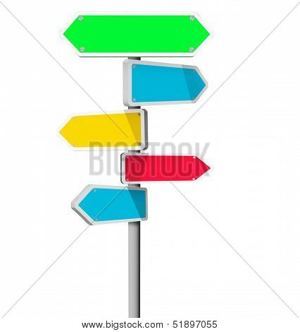 colorful Sign boards pointing in different directions