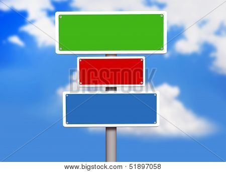 Sign board placed over bright blue sky