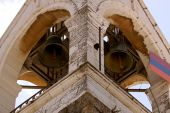 The bells of Church of Nativity in Bethlehem, West Bank ringing. poster