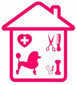 home pet services symbol with poodle, grooming, veterinary and bone silhouette poster
