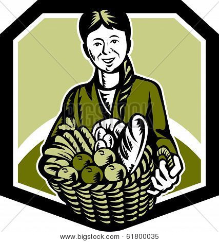 Female Organic Farmer Crop Harvest Woodcut