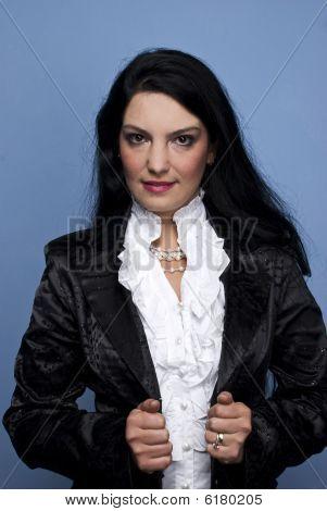 Modern Woman In Black Satin Jacket