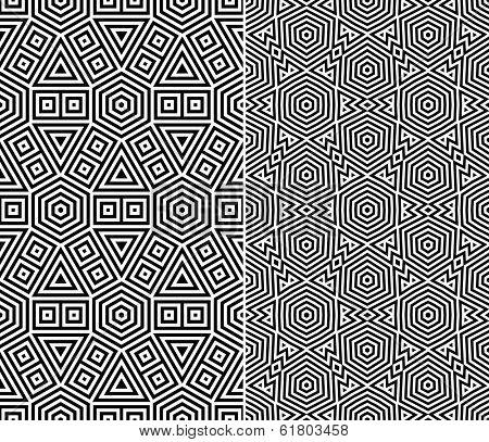 Set of Two Seamless Patterns. Vector Illustration