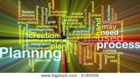 Planning Word Cloud Glowing