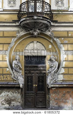 Dilapidated Art Nouveau Building, Riga Latvia