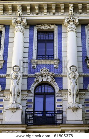 Facade Of Blue And White Art Nouveau (jugendstil) Building, Riga