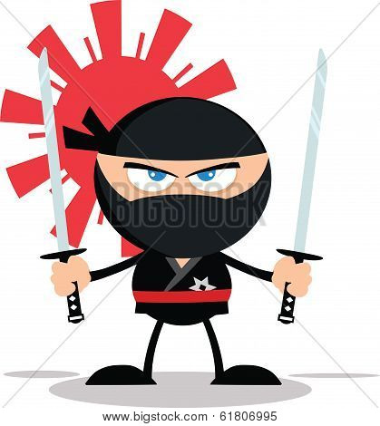 Angry Ninja Warrior Cartoon Mascot Character With Two Katana Flat Design