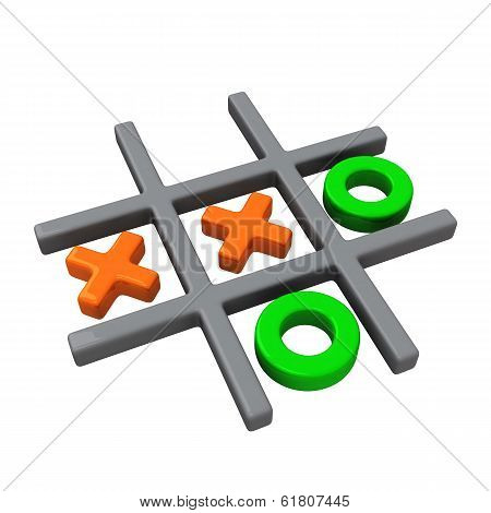 Naughts and crosses game, 3d illustration,