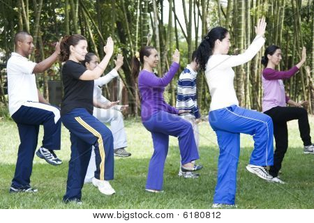Group Of People Doing Gym